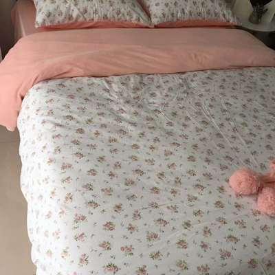 2018秋冬棉加绒四件套水晶绒法莱绒全棉卡通佩奇菠萝保暖套件 1.8m(6英尺)床 缘分天空-粉