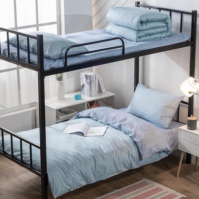 艾绒2019春夏新品 日式水洗全棉四件套 学生水洗棉三件套 枕套床单被套 1.0m(3.3英尺)床 三件套-艾格蓝