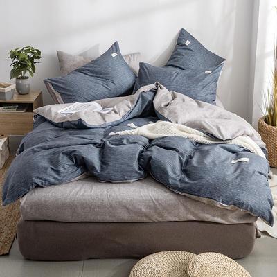 艾绒2019春夏新品 日式水洗全棉四件套 学生水洗棉三件套 枕套床单被套 1.5m(5英尺)床 诺威