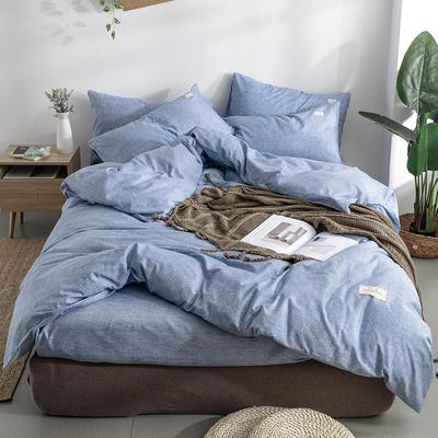 艾绒2019春夏新品 日式水洗全棉四件套 学生水洗棉三件套 枕套床单被套 1.5m(5英尺)床 黛蓝