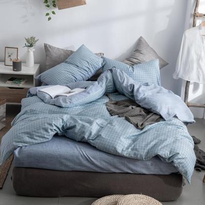 艾绒2019春夏新品 日式水洗全棉四件套 学生水洗棉三件套 枕套床单被套 1.0m(3.3英尺)床 艾格蓝