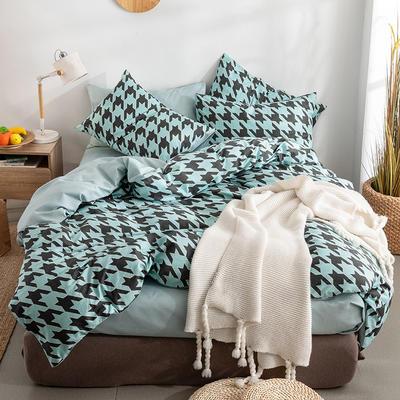 艾绒2019春夏新品 日式水洗全棉四件套 学生水洗棉三件套 枕套床单被套 1.0m(3.3英尺)床 海伦