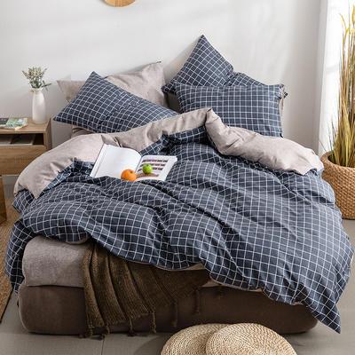 艾绒2019春夏新品 日式水洗全棉四件套 学生水洗棉三件套 枕套床单被套 1.5m(5英尺)床 吉米蓝