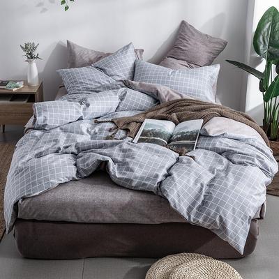 艾绒2019春夏新品 日式水洗全棉四件套 学生水洗棉三件套 枕套床单被套 1.8m(6英尺)床 吉米-灰