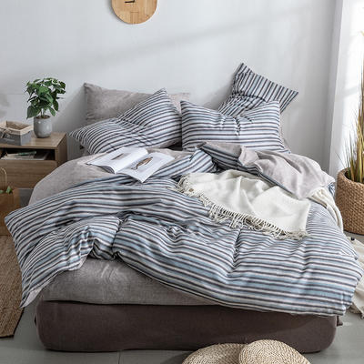 艾绒2019春夏新品 日式水洗全棉四件套 学生水洗棉三件套 枕套床单被套 1.5m(5英尺)床 古德
