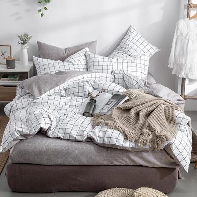 艾绒2019春夏新品 日式水洗全棉四件套 学生水洗棉三件套 枕套床单被套 1.5m(5英尺)床 洛拉