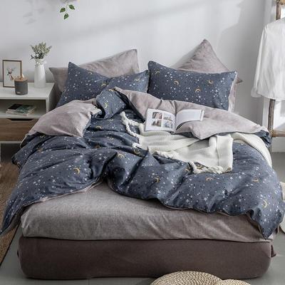 艾绒2019春夏新品 日式水洗全棉四件套 学生水洗棉三件套 枕套床单被套 1.8m(6英尺)床 星空