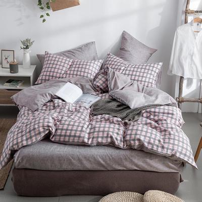 艾绒2019春夏新品 日式水洗全棉四件套 学生水洗棉三件套 枕套床单被套 1.5m(5英尺)床 艾琳