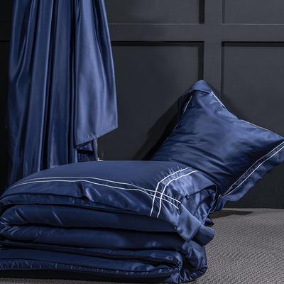 艾绒2019春夏新品 贡缎水洗真丝四件套 简约款 1.8m(6英尺)床 艾比特-深蓝
