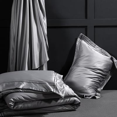 艾绒2019春夏新品 贡缎水洗真丝四件套 简约款 1.8m(6英尺)床 艾比特-银灰