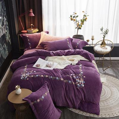 2019秋冬新品牛奶绒四件套毛巾绣水晶绒宝宝绒法莱绒保暖 1.8m(6英尺)床 芳华  紫