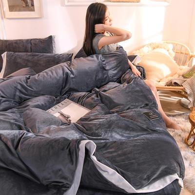 2019秋冬新款-北欧简约水晶绒四件套 牛奶绒宝宝绒法莱绒保暖 1.5m(5英尺)床 魅夜灰