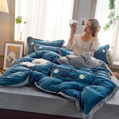 2019秋冬水晶绒四件套毛巾绣宝宝绒牛奶绒法莱绒保暖套件 1.5m(5英尺)床 悠然花开-墨蓝