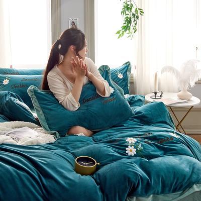 2019秋冬水晶绒四件套毛巾绣宝宝绒牛奶绒法莱绒保暖套件 1.8m(6英尺)床 悠然花开-墨绿