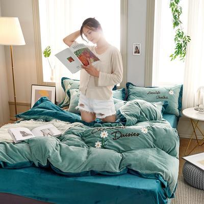 2019秋冬水晶绒四件套毛巾绣宝宝绒牛奶绒法莱绒保暖套件 1.8m(6英尺)床 悠然花开-浅绿