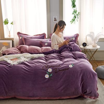 2019秋冬水晶绒四件套毛巾绣宝宝绒牛奶绒法莱绒保暖套件 1.8m(6英尺)床 悠然花开-深紫