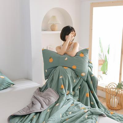 2020新型运动科技面料 针织棉夏被 印花款 180x200cm 甜橙