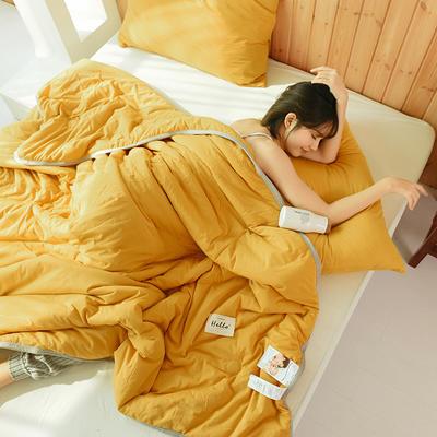 2020运动针织棉夏被 纯色款 夏被三件套 100x150cm 姜黄