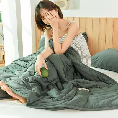 2020运动针织棉夏被 纯色款 夏被三件套 100x150cm 芥末绿