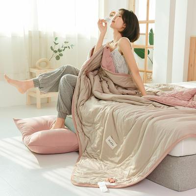 2020运动针织棉夏被 纯色款 夏被三件套 100x150cm 驼色+藕粉