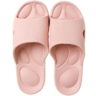 EVA夏季凉拖浴室抗菌防滑拖鞋按摩底 女鞋(37-38) 皮粉