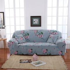 木木家纺 绒款沙发套印花 195-230cm/三人 花盛开灰