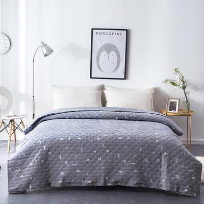 夹棉绗缝被套(床盖夏被)秋冬加厚保暖被罩 一件多用 150x200cm 简乐-灰