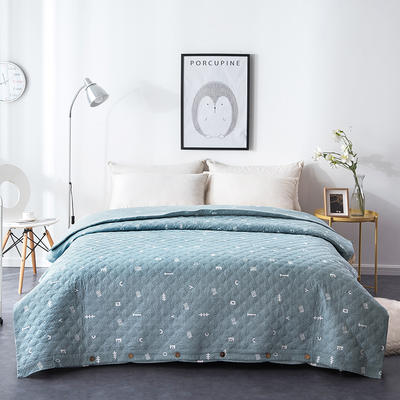 夹棉绗缝被套(床盖夏被)秋冬加厚保暖被罩 一件多用 150x200cm 简乐-绿