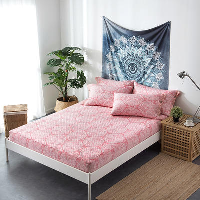 夹棉绗缝床笠秋冬加厚保暖床笠 150cmx200cm 繁华-红