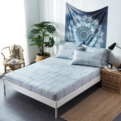 夹棉绗缝床笠秋冬加厚保暖床笠 150cmx200cm 繁华-蓝
