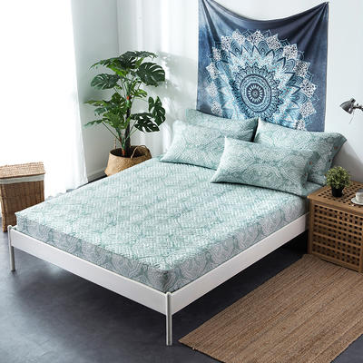 夹棉绗缝床笠秋冬加厚保暖床笠 120cmx200cm 繁华-绿