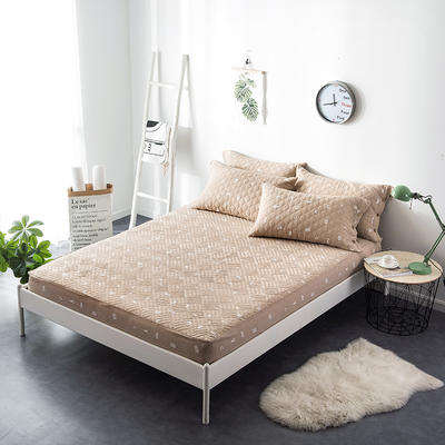 夹棉绗缝床笠秋冬加厚保暖床笠 150cmx200cm 简乐-咖