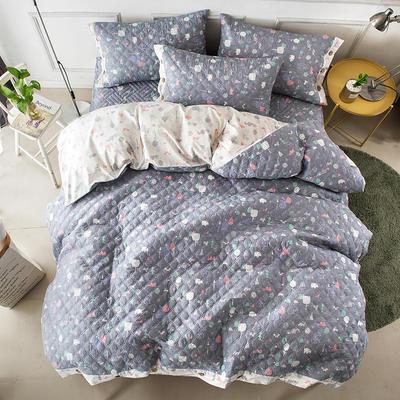 全棉绗绣夹棉床笠绗缝 秋冬加厚保暖四件套 1.2m(4英尺)床 安吉尔