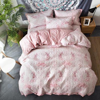 全棉绗绣夹棉床笠绗缝 秋冬加厚保暖四件套 1.2m(4英尺)床 红袖添香