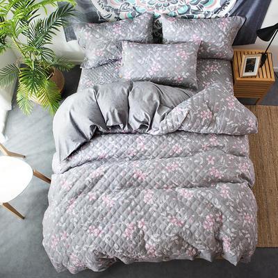 全棉绗绣夹棉床笠绗缝 秋冬加厚保暖四件套 1.2m(4英尺)床 蓝语迷情