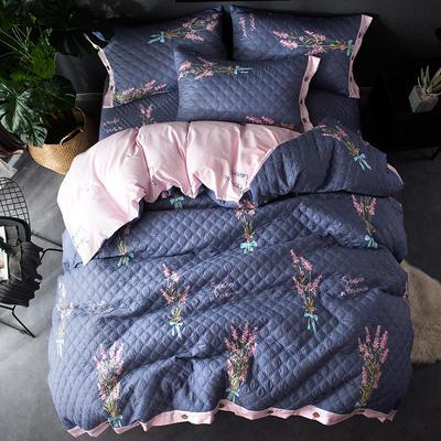 全棉绗绣夹棉床笠绗缝 秋冬加厚保暖四件套 1.2m(4英尺)床 浪漫约定