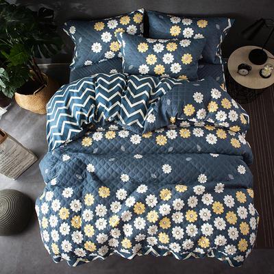 全棉绗绣夹棉床笠绗缝 秋冬加厚保暖四件套 1.2m(4英尺)床 玛格丽特-兰