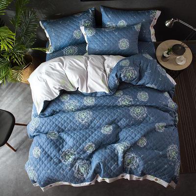 全棉绗绣夹棉床笠绗缝 秋冬加厚保暖四件套 1.2m(4英尺)床 蒲公英