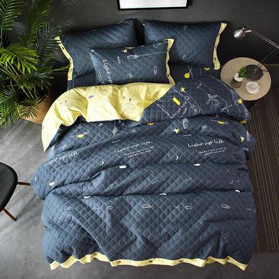 全棉绗绣夹棉床笠绗缝 秋冬加厚保暖四件套 1.2m(4英尺)床 晚安星点