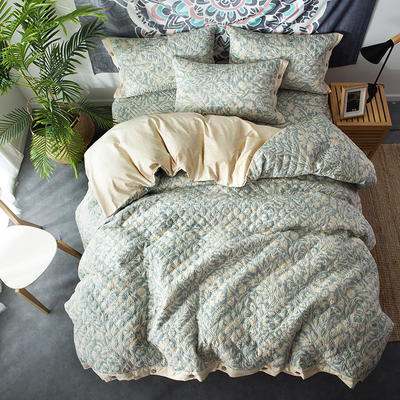 全棉绗绣夹棉床笠绗缝 秋冬加厚保暖四件套 1.2m(4英尺)床 星河倒影