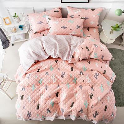全棉绗绣夹棉床笠绗缝 秋冬加厚保暖四件套 1.2m(4英尺)床 阳光梦想