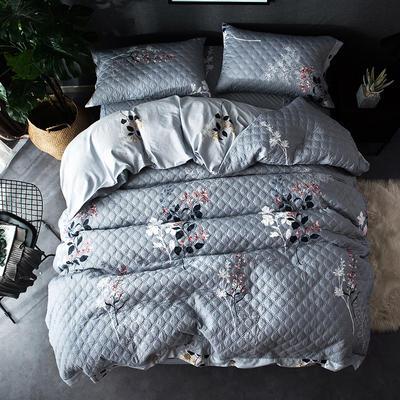 全棉绗绣夹棉床笠绗缝 秋冬加厚保暖四件套 1.2m(4英尺)床 一剪梅
