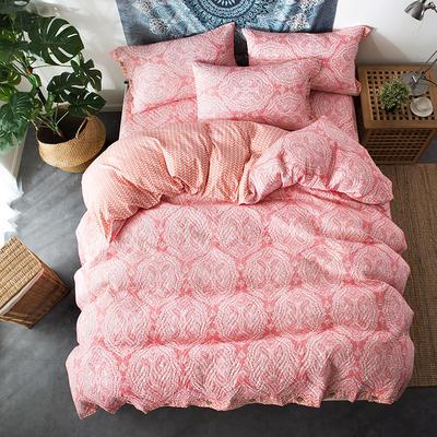 夹棉绗缝床笠秋冬加厚保暖四件套系列 1.5m(5英尺)床 繁华-红