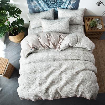 夹棉绗缝床笠秋冬加厚保暖四件套系列 1.5m(5英尺)床 繁华-灰