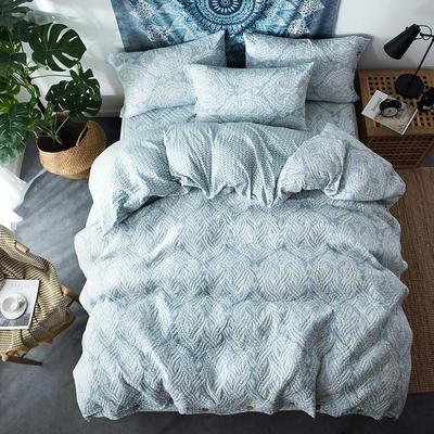 夹棉绗缝床笠秋冬加厚保暖四件套系列 1.5m(5英尺)床 繁华-蓝