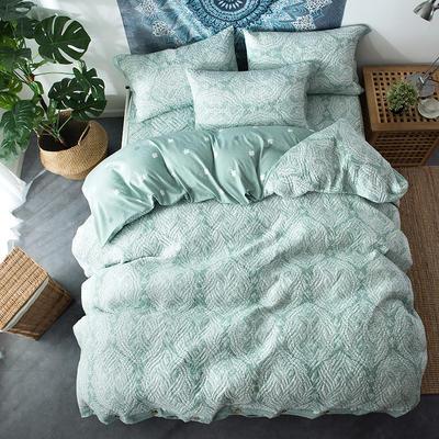 夹棉绗缝床笠秋冬加厚保暖四件套系列 1.5m(5英尺)床 繁华-绿