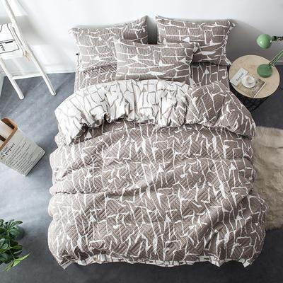 夹棉绗缝床笠秋冬加厚保暖四件套系列 1.2m(4英尺)床 格调-咖