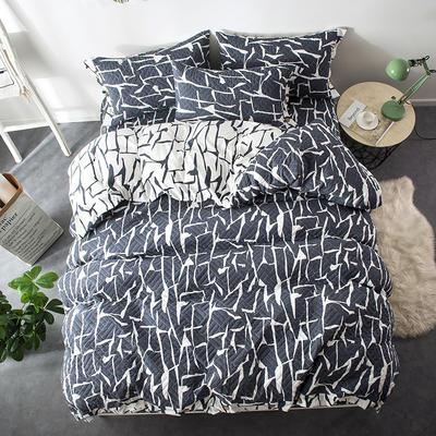 夹棉绗缝床笠秋冬加厚保暖四件套系列 1.5m(5英尺)床 格调-蓝