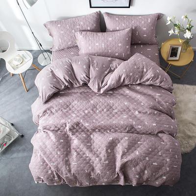 夹棉绗缝床笠秋冬加厚保暖四件套系列 1.2m(4英尺)床 简乐-豆沙
