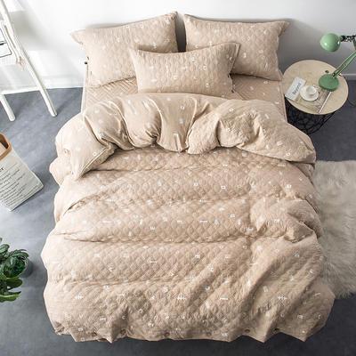 夹棉绗缝床笠秋冬加厚保暖四件套系列 1.5m(5英尺)床 简乐-咖